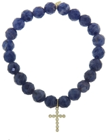 Sydney Evan Diamond Cross Charm On Iolite Beaded Bracelet