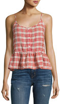 Current/Elliott The Workwear Plaid Peplum Top, Red Multi