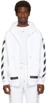 Off-White White Diagonal Brushed Zip Hoodie
