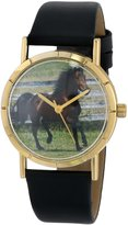 Whimsical Watches Kids' P0110029 Classic Morgan Horse Black Leather And Goldtone Photo Watch