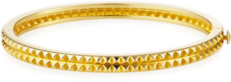 Roberto Coin Pyramid-Stud Rock & Diamonds Bangle in 18K Yellow Gold