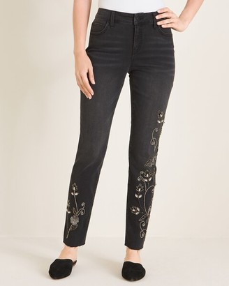 So Slimming Beaded Vine Girlfriend Ankle Jeans