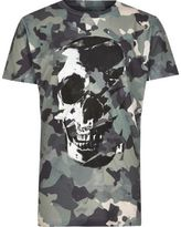 River Island Boys green camo skull print T-shirt