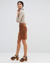 Warehouse Short Suede Skirt