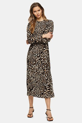 Topshop Open Back Animal Print Midi Dress