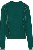 Philosophy di Lorenzo Serafini Ruffle-trimmed Cable-knit Wool Sweater