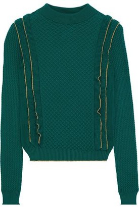 Philosophy di Lorenzo Serafini Ruffle-trimmed Cable-knit Wool Sweater