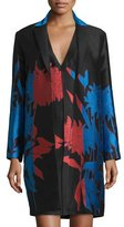 Carolina Herrera Open-Front Floral-Print Jacket, Cayenne/Black/Blue