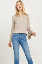 Dynamite Satin Blouse with Bell Sleeves