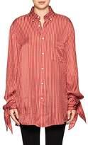 Balenciaga Women's Tied-Cuff Striped Satin-Crepe Blouse