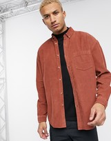 Asos Design DESIGN oversized 90's style cord shirt in rust