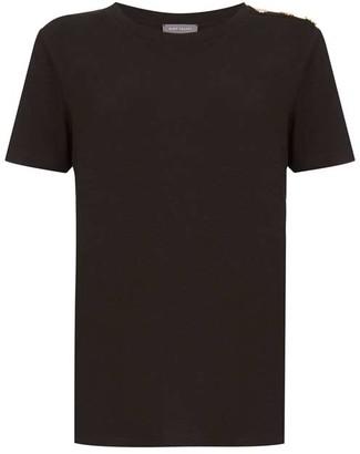 Mint Velvet Black Military Button T-Shirt