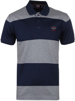 Paul & Shark Navy & Grey Striped Kompact Pique Polo Shirt
