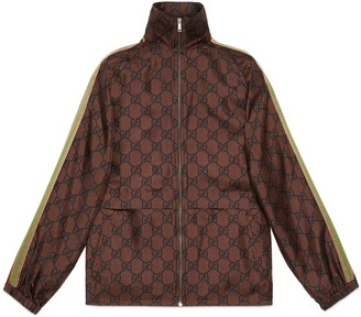 Gucci GG Supreme print silk zip-up jacket