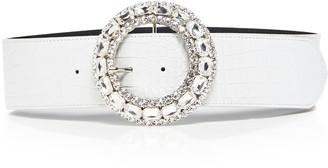 Alessandra Rich Crystal-Embellished Croc-Effect Leather Belt