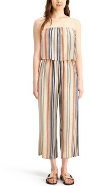 BeBop Juniors' Striped Strapless Popover Jumpsuit