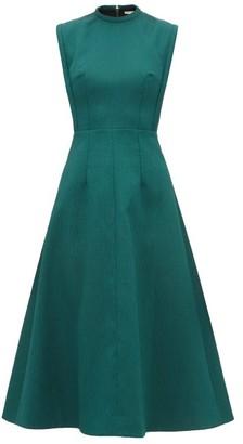 Emilia Wickstead Elisabeth A-line Cloque Midi Dress - Womens - Dark Green