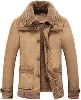 JIAX Men 's Winter Warm Fur Coat Faux Suede Leather Jacket Lamb Wool Lining