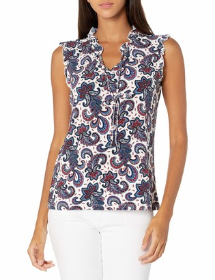 Tommy Hilfiger Women's Floral Printed Bead Neck Sleeveless-Knit Top
