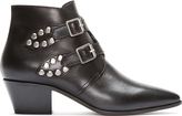 Black StuDDed Leather Signature 40 Ankle Boots