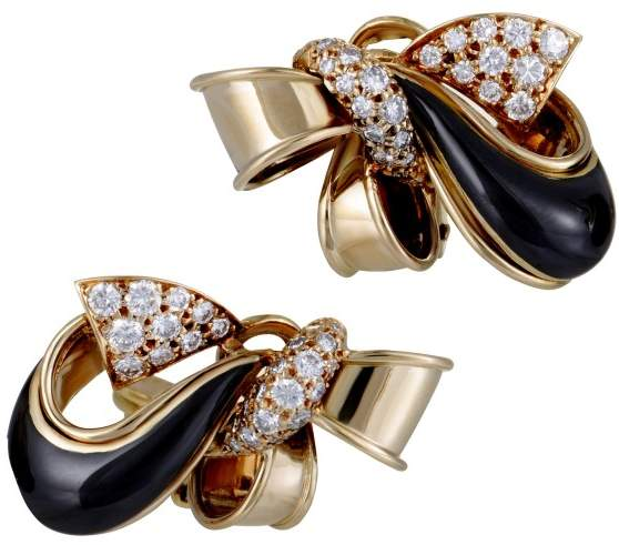 Givenchy 18K Yellow Gold 1.00ct Diamond and Onyx Bow Clip Earrings