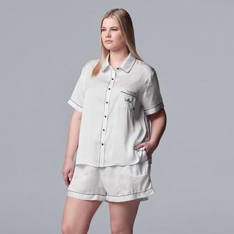 "Vera Wang Plus Size Simply Vera Mrs."" Satin Shirt & Pajama Shorts Set"