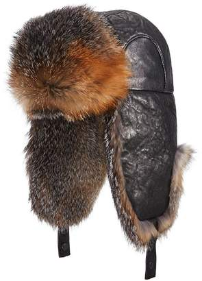 Crown Cap Leather Fox Fur Aviator