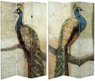 Oriental Furniture Handmade 6' Double Sided Peacocks Canvas Room Divider