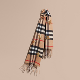 Burberry The Mini Classic Cashmere Scarf in Check and Sequined Stars
