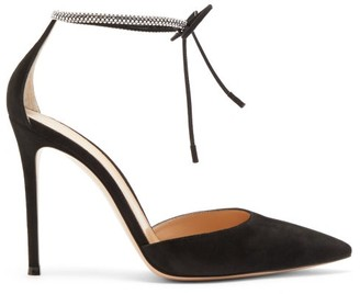 Gianvito Rossi Crystal-embellished 105 Suede Pumps - Womens - Black