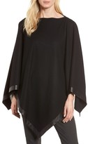 Eileen Fisher Petite Women's Leather Trim Wool Poncho
