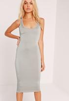 Missguided Slinky Bodycon Midi Dress Grey