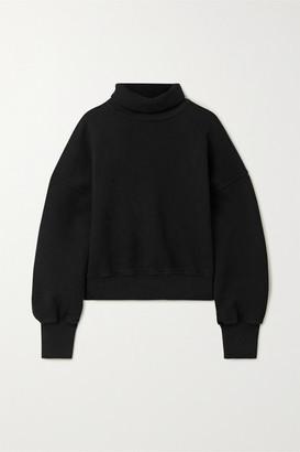 A Gold E Cropped Cotton-jersey Turtleneck Sweatshirt - Black