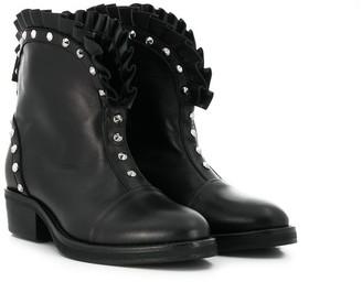 Balmain Kids frill studded boots