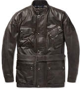 Belstaff Panther Slim-fit Belted Leather Jacket - Gray