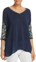 Johnny Was Nina Embroidered Sleeve Blouse