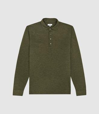 Reiss Zen - Long Sleeved Polo in Olive