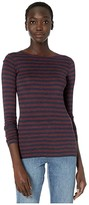 Vince Heather Stripe Long Sleeve Crew (Heather Dahlia Wine/Heather Marine) Women's Clothing