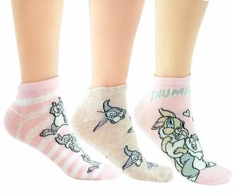 Licensed Disney Bambi Thumper 3 Pairs Ladies Girls Ankle Socks Shoe Liners