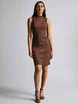 Dorothy Perkins Animal Sleeveless High Neck Midi Dress - Brown
