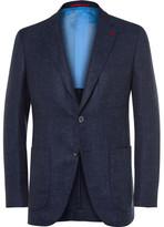 Isaia Blue Slim-Fit Wool, Silk and Linen-Blend Blazer