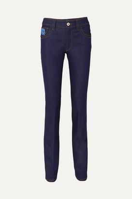Prada Appliqued High-rise Slim-leg Jeans - Indigo
