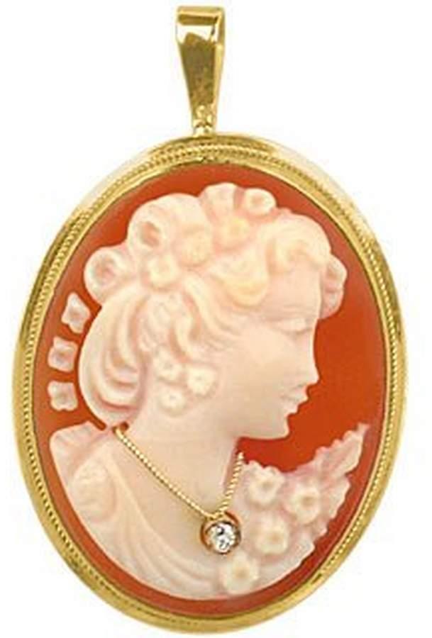 Del Gatto Woman with Diamond Necklace Cornelian Cameo Pendant / Pin
