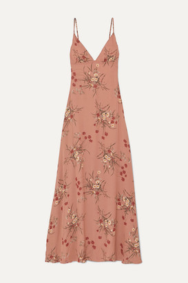 Reformation Modena Open-back Floral-print Georgette Maxi Dress - Antique rose