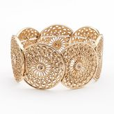 LC Lauren Conrad Gold Tone Simulated Crystal Filigree Stretch Bracelet