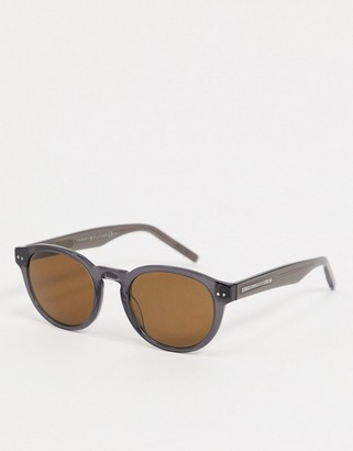 Tommy Hilfiger aviator sunglasses in blue metal with blue lens