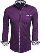 HOTOUCH Men's Contrast Color Patchwork Shirts Black Grey M