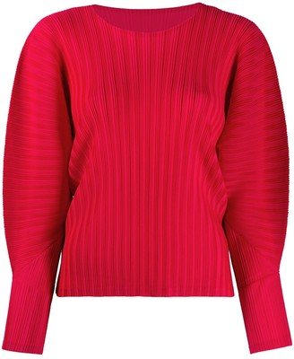 Pleats Please Issey Miyake Micro-Pleated Long-Sleeved Top