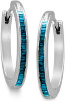 Macy's Sterling Silver Earrings, Blue Diamond Baguette Hoop Earrings (1/4 ct. t.w.)