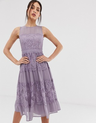 Little Mistress lace panel midi dress in lilac-Purple